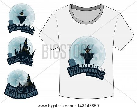 Happy Halloween Trick or Treat Vector Stickers on white T-Shirt. Moon, Text, Bat, Scarecrow, Monument, Castle.