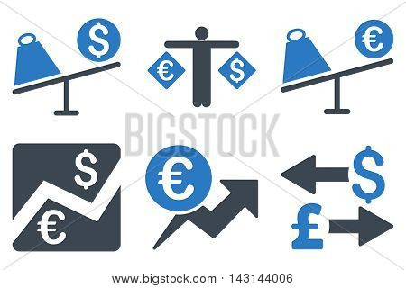 Currency Trading vector icons. Icon style is bicolor smooth blue flat symbols with rounded angles on a white background.