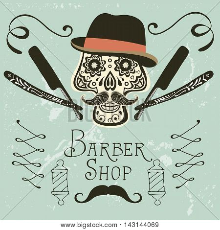 Skull with mustache and hat. Retro style hand drawn graphics for barber shop emblem
