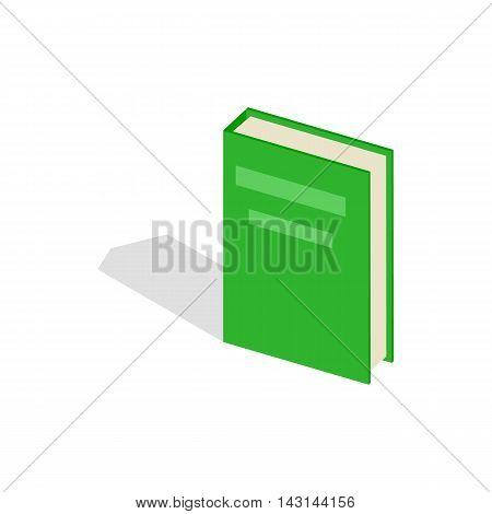 Green closed book icon in isometric 3d style on a white background