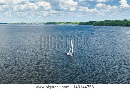 Summer landscape with river Dnepr in Dnepropetrovsk city Ukraine.