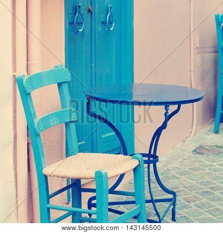 Vintage beautiful coffee shop. Impressions of Greece