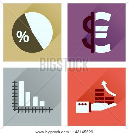Concept of flat icons with long  shadow money economy