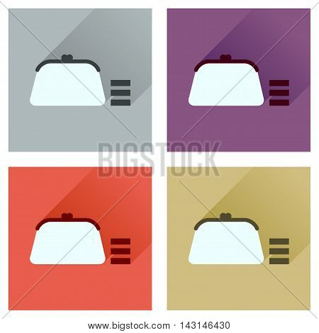 Concept of flat icons with long  shadow coin purse