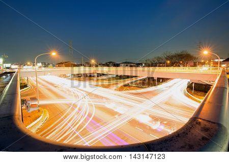Night view of taken the car lights.