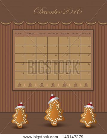 Calendar December Christmas 2016 tree gingerbread chocolate vector