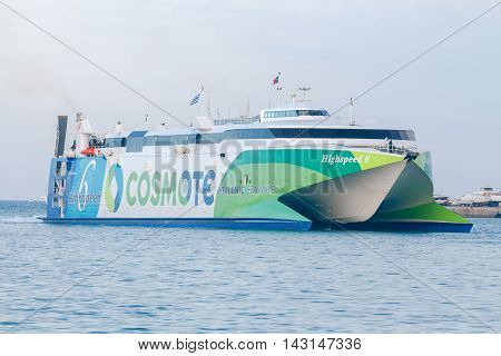 Heraklion, Greece - April 23, 2016: High-speed ferry catamaran on the island of Santorini from Heraklion. A popular tourist destination.