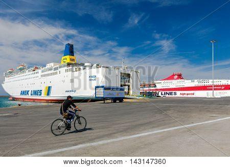 Heraklion, Greece - April 24, 2016: Large sea ferries at the pier in Heraklion carrying passengers across the Mediterranean Sea.