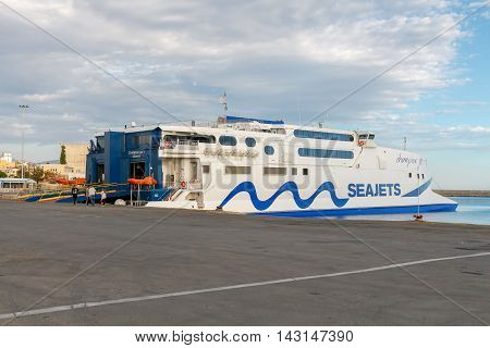 Heraklion, Greece - April 25, 2016: High-speed ferry catamaran on the island of Santorini from Heraklion. A popular tourist destination.