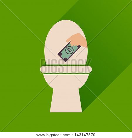Flat icon with long  shadow toilet money