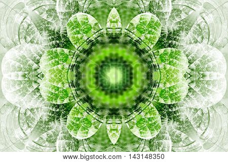 Abstract flower mandala on white background. Intricate symmetrical pattern in green and grey colors. Fantasy fractal design