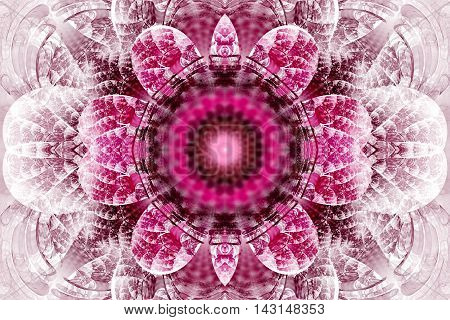 Abstract flower mandala on white background. Intricate symmetrical pattern in pink and black colors. Fantasy fractal design