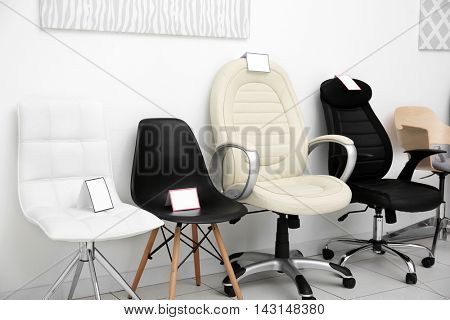 Modern chairs for sale in furniture store