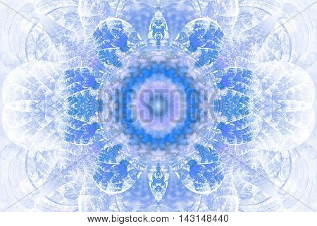 Abstract flower mandala on white background. Intricate symmetrical pattern in pastel blue colors.