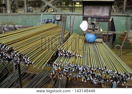 shop of the plant the production of steel rods and fittings steel mill