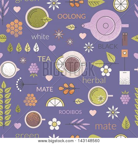 Vector pastel seamless pattern with different types of tea like black, oolong, green and white tea with anise, rooibos and chamomile. Purple background, cups and ingredients. Line art.