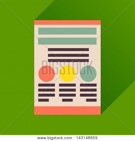 Flat icon with long  shadow economic document