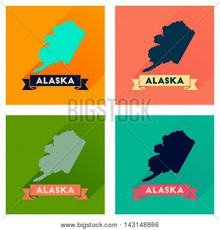 Concept of flat icons with long  shadow Alaska map