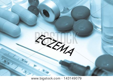Eczema. Treatment and prevention of disease. Syringe and vaccine. Medical concept. Selective focus