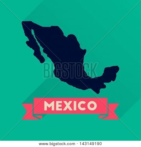 Flat icon with long  shadow map of Mexico