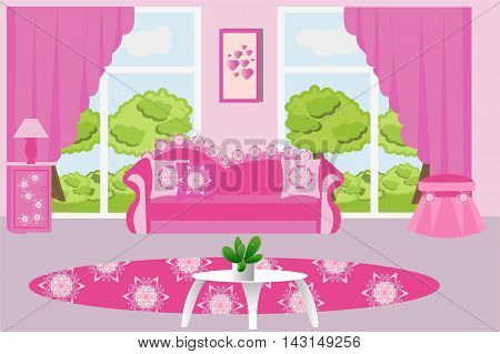 The interior living room, furniture, sofa, curtains, pink, table, plant, Ottoman, rug, table, vector illustration
