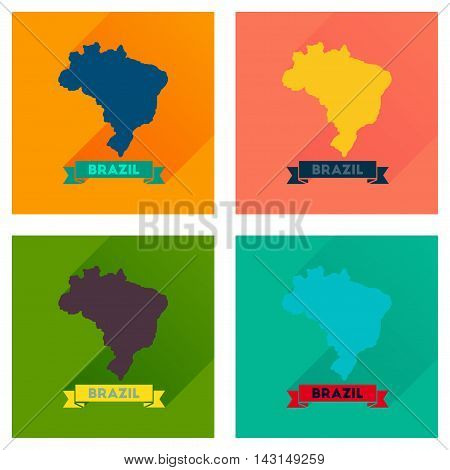 Concept flat icons with long  shadow Brazil map