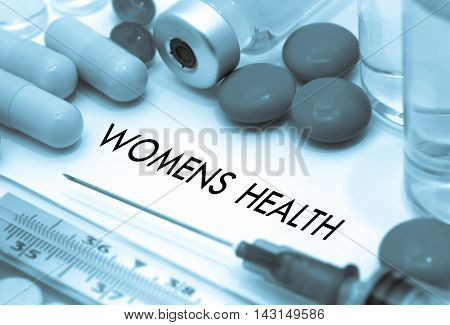 Womens health. Treatment and prevention of disease. Syringe and vaccine. Medical concept. Selective focus