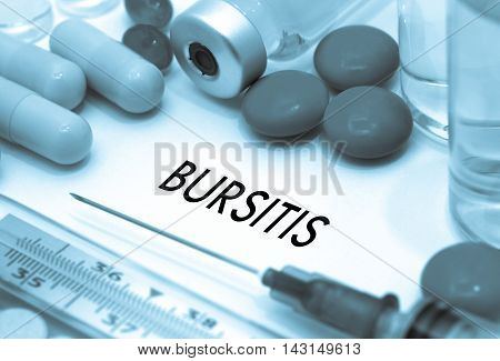 Bursitis. Treatment and prevention of disease. Syringe and vaccine. Medical concept. Selective focus