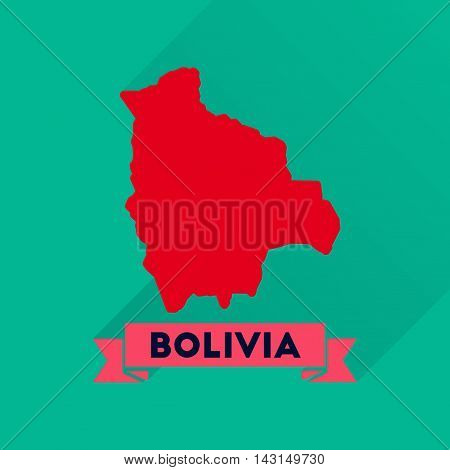 Flat icon with long  shadow maps of Bolivia
