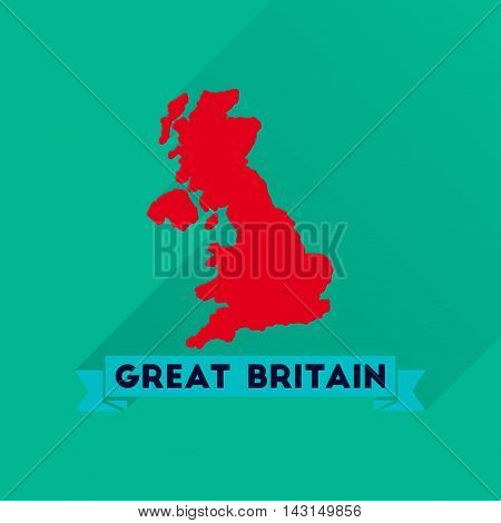 Flat icon with long  shadow map of Great Britain
