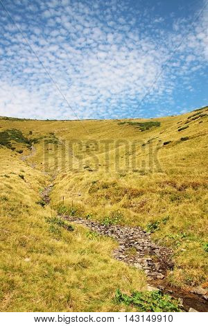 stream flowing from the mountains against the sky with clouds, Carpathian Mountains