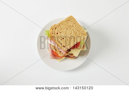 Whole grain sandwiches with beef slices and Swiss cheese