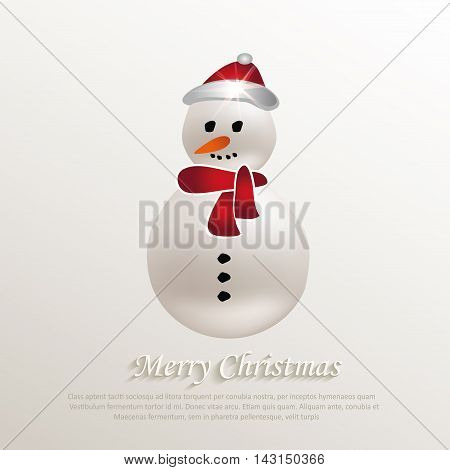 christmas snowman natural paper 3D vector template