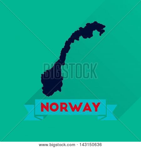 Flat icon with long  shadow Norway map