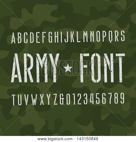 Army alphabet font. Scratched type letters and numbers on camo background. Vector typography for your design.