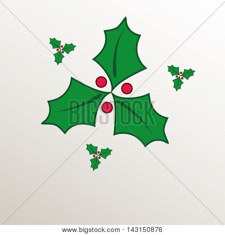 christmas holly green natural paper 3D raster