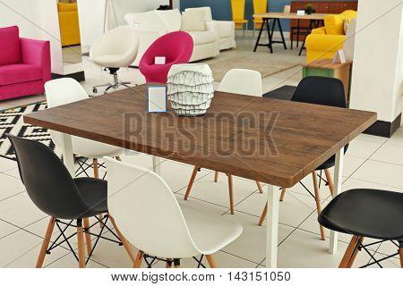Interior of furniture store