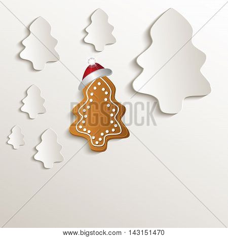 christmas trees gingerbread cap red natural paper 3D raster