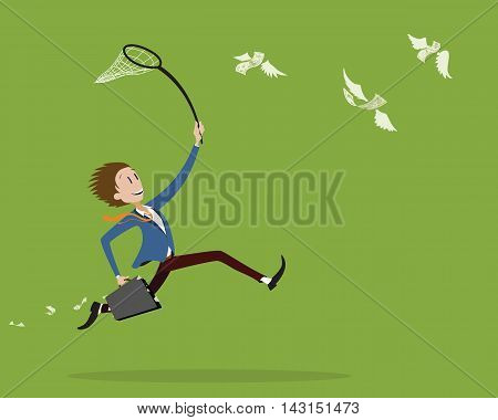 young businessman trying to catch flying money