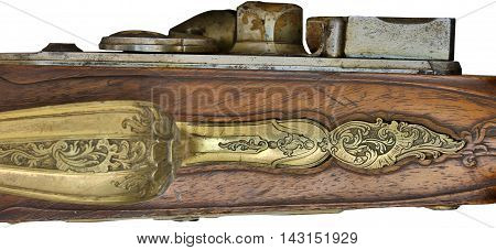 antique gun and stamping patterns on the barrel and slide
