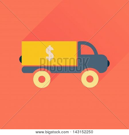 Flat icon with long  shadow  car transportation money