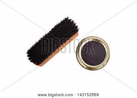 Shoe Brush And Can Of Wax Polish Isolated On White Background