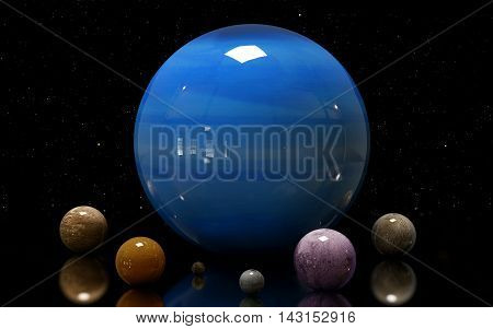 3D Illustration Of Uranus's Moons And Star. Elements Of This Image Furnished By Nasa.