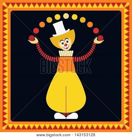 Funny clown. Juggler balls. Flat style. Vector illustration