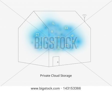 Private cloud storage. Modern web technologies. Contemporary developments. Colorful illustration with a set of flat minimalistic icons. Template for a poster cover business card or postcard.