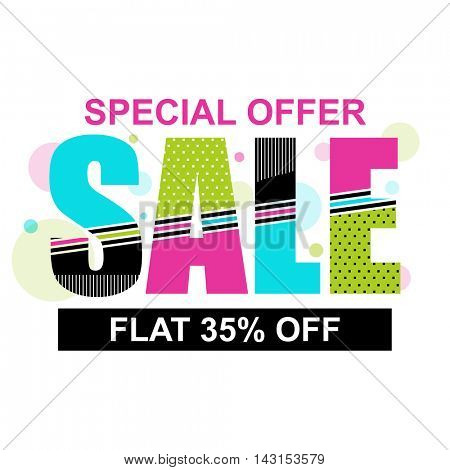 Special Offer Sale with Flat 35% Off, Colorful typographic background, Creative Poster, Banner or Flyer design, Vector illustration.