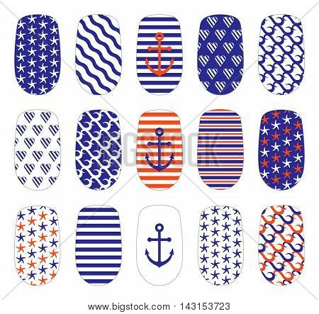 Nail art marine style templates. Manicure design set. Can be used for false nail tips and stickers. Isolated on white.