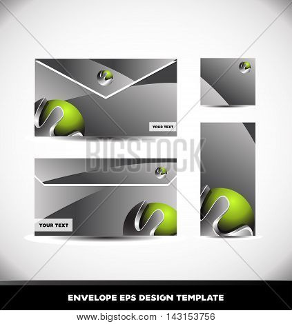 Green metal metallic silver grey envelope template vector illustration design corporate business