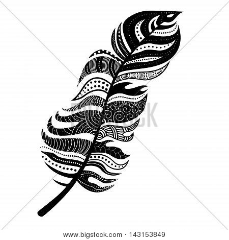 Decorative stylized feather. Can be used for body art, tatoo design and stickers. Vector illustration isolated on white.