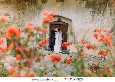 Handsome newlywed pair kissing near entrance of antique ruined castle with cute small red flowers on foreground.